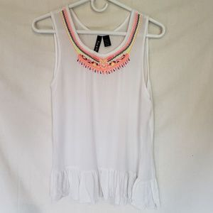 Tops - White beaded tank top